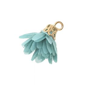 Tulle flower / with openwork tip / 18mm / Gold Plated / patina / 4 pcs
