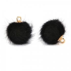 Black Faux Fur Pom Pom Ball Charm with Gold Loop 16mm Pk2