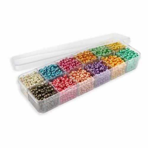 X Preciosa Metallic Madness Seed Bead Selection 12x11g Box Set
