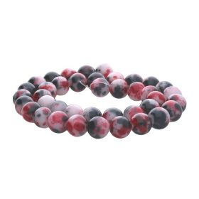 Jade / round / 6mm / black-red / 68pcs