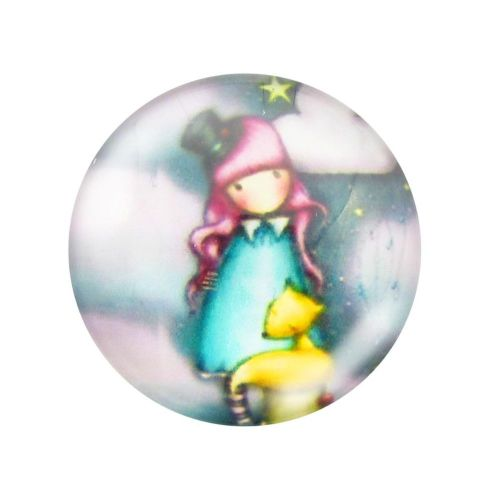 Glass cabochon with graphics 14mm PT1493 / pink-grey / 4pcs
