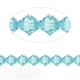 5328 Swarovski Crystal Bicones Xillion 6mm Light Turquoise Pk24