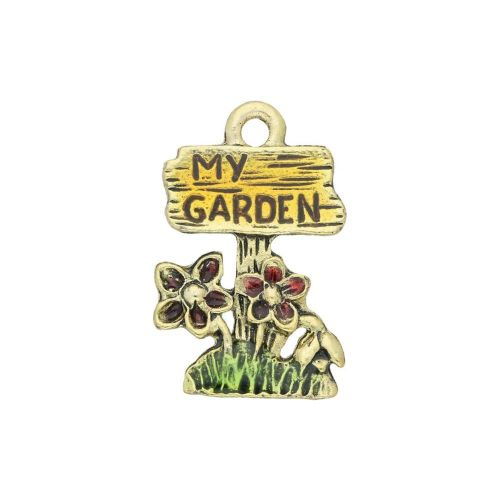 FancyCharm™ / my garden / charm pendant / 19x12mm / gold plated / hole 1mm / 1pcs