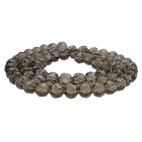 CrystaLove™ crystals / glass / faceted round / 8mm / grey-brown / transparent  / 65pcs