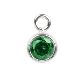 Sterling Silver 925 Emerald CZ May Birthstone Charm 5mm Pk1