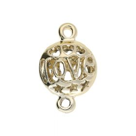 Love / openwork charm / connector / 25x16x7mm / Gold plated / 1pcs
