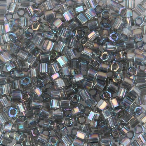 X-Toho Size 8 Hex Seed Beads Transparent Rainbow Grey 10g