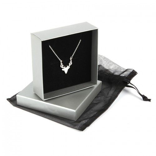 Ready To Wear Sterling Silver 925 Stag Head Necklace with Gift Box