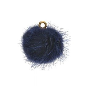 Pom pom / pendant / 15mm / navy / 4pcs