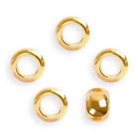 Gold Plated Zamak Large Hole Round Beads 10x5.5mm Pk5
