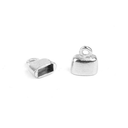 Titanium Plated Flat Cord Ends 9x10mm for 5x2mm Cords 1xPair