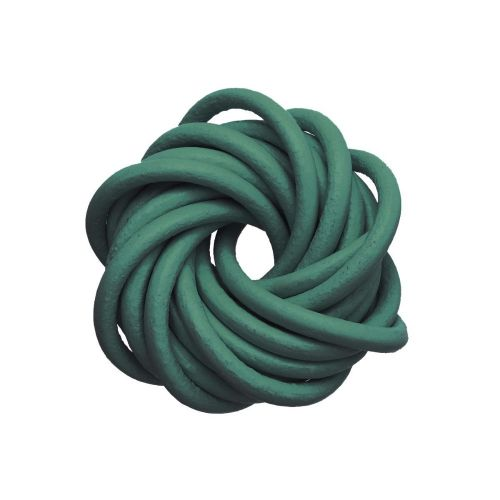 Leather cord / natural / round / 3mm / dark green / 2m