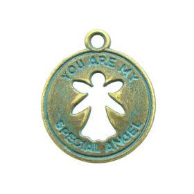 You are my special angel / charm pendant / 22x18mm / antique bronze - aqua / hole 2mm / 2pcs