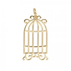 Gold Plated Sterling Silver 925 Birdcage Charm 11.5x20mm Pk1