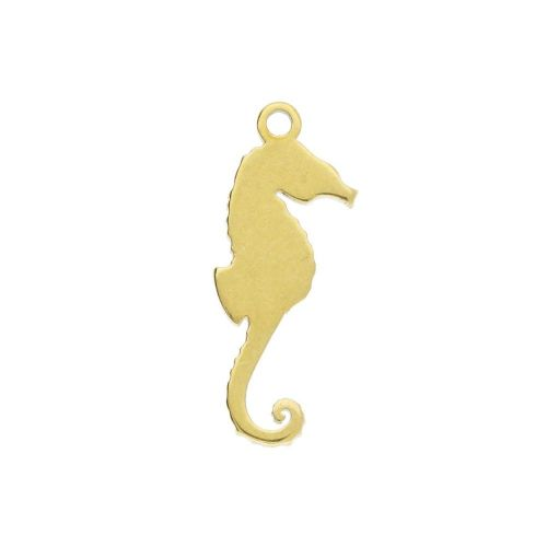 Seahorse / charm / surgical steel / 14x5mm / gold / 2pcs