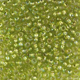 Toho Size 8 Round Seed Beads Silver-Lined Lime Rainbow 10g