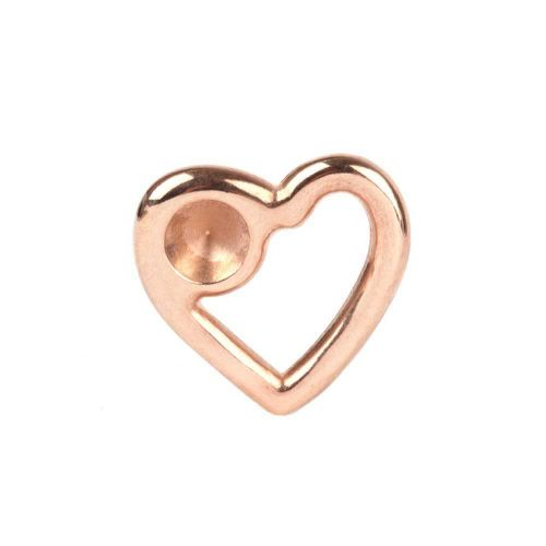 Rose Gold Plated Zamak Floating Heart Holds SS39 28x26mm Pk1
