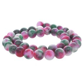 Jade / round / 10mm / pink-green / 40pcs