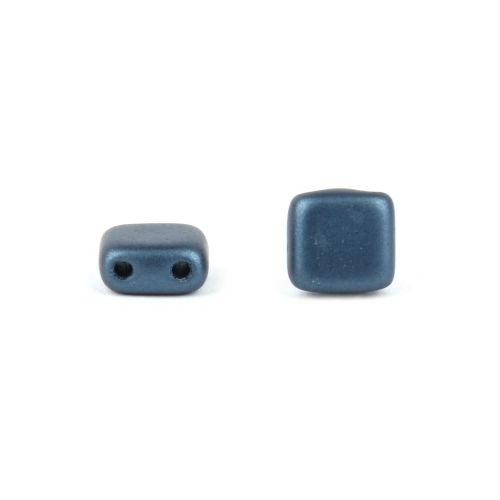 X- Preciosa Pressed Twin Hole Tile Square 6mm Frosted Navy Pk20
