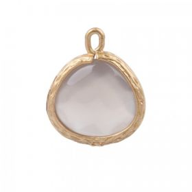 Matte Gold Plated Grey Quartz Semi Precious Charm 11mm Pk1