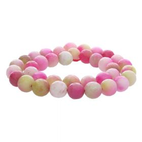 Agate / faceted round / 10mm / pink-white-honey / 35pcs