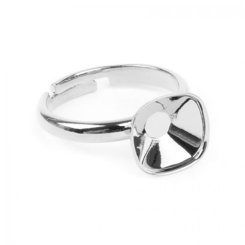 X Silver Plated Adjustable Ring Base Swarovski 4470 10mm Setting