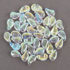 Crystal AB Paisley Duo Czech Glass Beads 5x8mm 10g