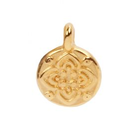 Gold Plated Zamak Small Flower Coin Charm 8mm Pk5