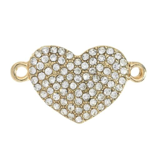 Glamm™ / heart / connector / 80 zircons / 23x13mm / gold plated / hole 1.6mm / 1pcs