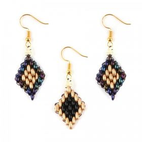 Gold Twin Hole Beaded Earring Take a Make Break Kit - Makes x10 Pairs