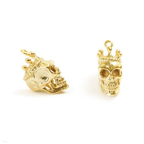 X- Gold Plated Brass Skull with Crown Charm 8x15mm Pk1