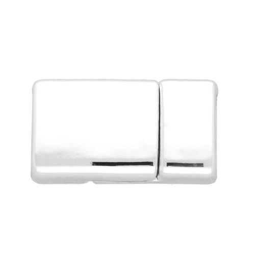 Magnetic clasp / rectangular / curved / 25x13x7mm / silver / hole 10x5mm / 1pcs