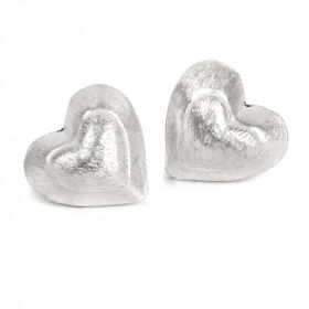 Silver Plated Brushed Puffy Heart Bead Long Drilled 20mm Pk2