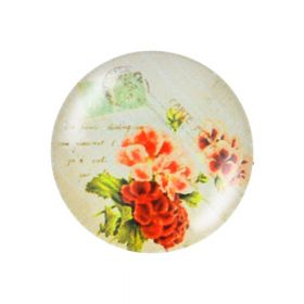 Glass cabochon with graphics K20 PT1345 / pink / 20mm / 2pcs
