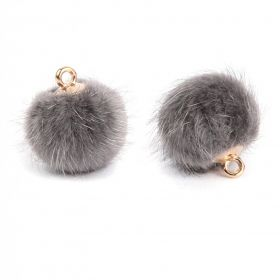 Dark Grey Faux Fur Pom Pom Ball Charm with Gold Loop 16mm Pk2