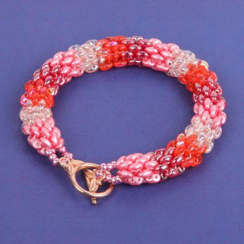 """""""X"""" Pink Ombre SuperDuo Rope Kit - Makes x2 Bracelets"""