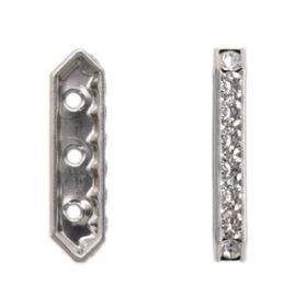 Silver Plated 3 Hole Crystal Rondell