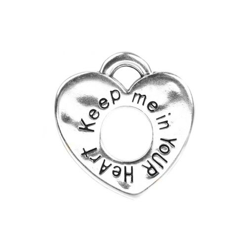 Antique Silver Plated 'Keep Me in Your Heart' Charm 21mm Pk1