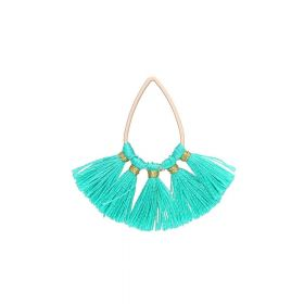 Tassel / viscose thread / teardrop / 36mm / turquoise / 1pcs