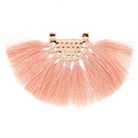 Pink Fan Tassel with Gold Plated Hammered Top 45x80mm Pk1