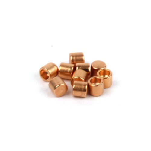 Rose Gold Plated Brass Small Cord Ends 2x2.2mm (Hole 1.3mm) Pk10