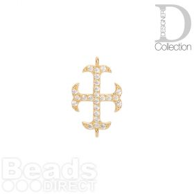 Gold Plated Cross Connector Cubic Zirconia 12x16mm Pk1