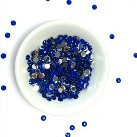 Acrylic / flat back / faceted / round / embellishment / royal blue / 4x2mm / ~5g
