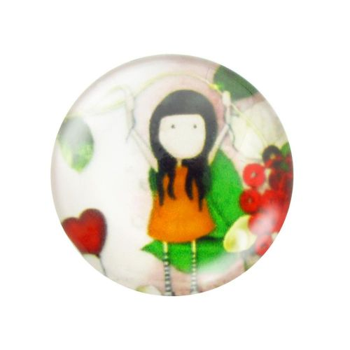 Glass cabochon with graphics 14mm PT1512 / green / 4pcs