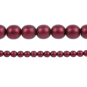 Burgundy Matte Czech Glass Round Pearl Beads 8mm Pk75