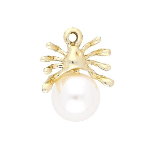 Glamm ™ Spider with pearl / charm pendant / 9 zircons / 19x15x10mm / gold plated / 1pcs