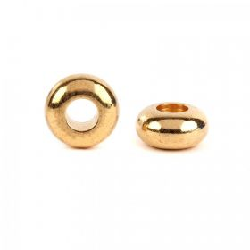 Gold Plated Donut/Rondelle Spacer Beads 5x10mm (4mm hole) Pk5