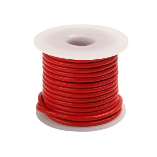 X Red Round Leather 2mm Cord 5metre Reel