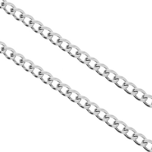 Curb chain / surgical steel / 4x3mm / silver / link 0.8mm / 1m