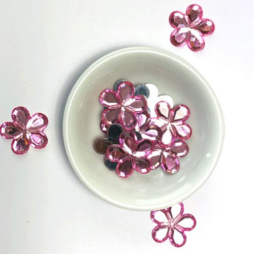 Acrylic / flat back / flower / embellishment / pink / 20x2mm / ~5g